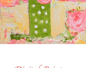 Pink Roses Flower Painting Print. Floral Art Wall Decor. Gifts for Home Or Apartment Under 50. 287