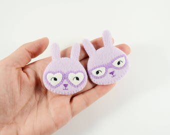 Couple Bunnies Felt Brooch / Couple Brooch / Romantic Felt Rabbit Pin / Felt Rabbit Brooch / Cute Rabbit With Glasses Pin / Lavender Bunny