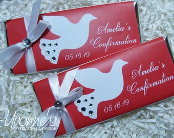 Confirmation Candy Bar Wrapper-Chocolate Bar Favors-White/Red Dove Design with Bling-Confirmation Party Favors, Communion, Religious