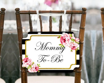 Black Stripes Gold Mommy to be Chair Banner, Baby Shower Decorations, Baby Shower Chair Banner, Mommy To Be Sign. Printable Chair Sign TLC04