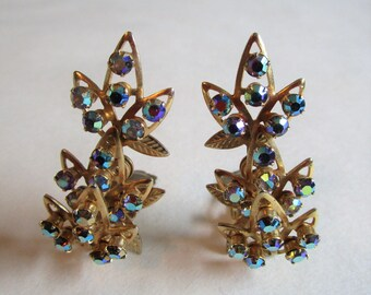 60s AB Rhinestone Clip On Earrings Vintage Star Floral Leaf Gold Tone Blue Gemstone 1960s Earrings