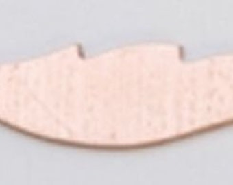 """Copper Blanks Feather 1"""" 24ga Pkg Of 6"""