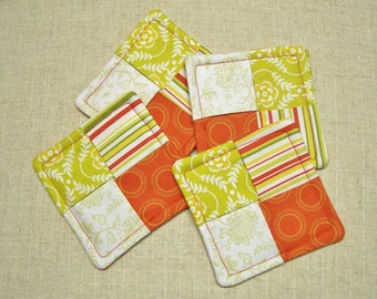 CLEARANCE SALE - Folded Fabric Coasters, Tropical Colors, Orange & Green, Set of 4, Reversible, Candle Mat, Pad, Hot Pad, Mug Rug