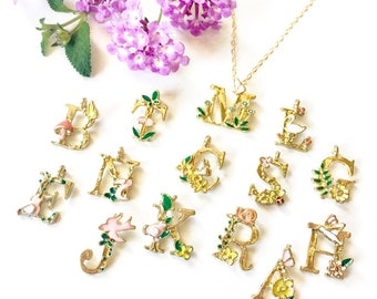 Initial Necklace Gold Enameled Personalized Initial Jewelry Alphabet Charm Floral Necklace Nature Jewelry for Girls Spring Easter Gift Idea