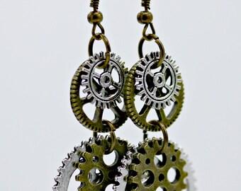 Steampunk Industrial Gear Earrings