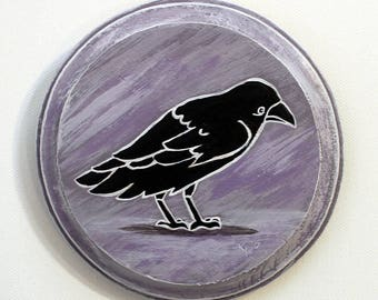 Raven Painting - Original Small Wall Art Acrylic Bird Painting on Wood by Karen Watkins - 5x5 Inches - Raven Home Decor