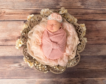 Strech Newborn headband, Tie back, Photo Prop, Newborn Tieback, Halo, Pastel Headband, Newborn Flowers, Baby Tieback, Vintage Halo