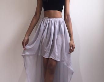 Grey chiffon summer pleated asymmetrical maxi elastic waist skirt