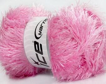 Large 100 gram skein Baby Pink Eyelash Glitz Ice Sparkly Eyelash Yarn 35798-46557