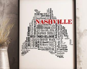Nashville Map Art, Nashville Art Print, Nashville Neighborhood Map, Nashville Typography Art, Nashville Wall Decor, Nashville Moving Gift