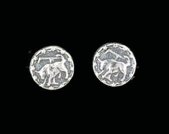 Sterling Silver Zodiac Stud Earrings Taurus