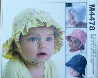 McCall's M4478 Infants' Hat Sewing Pattern New/Uncut Size Newborn to Extra Large