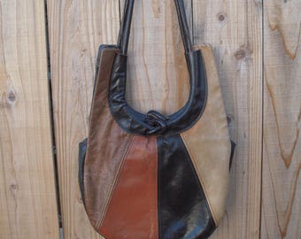 Vintage leather patchwork hobo bag