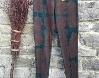 Size 8 Leggings hand dyed with the natural plant dye indigo.