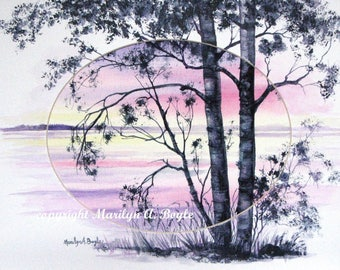 CANADIAN ART, ORIGINAL Watercolor, free shipping, pink and purple sunrise, 11 x 14 inch oval mat, painting extended onto mat, 3-D look,