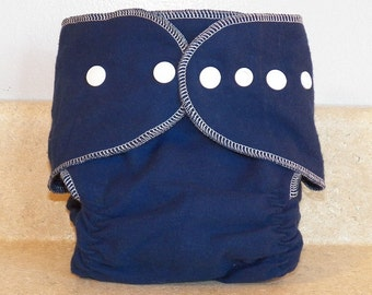 Fitted Large Cloth Diaper- 20 to 30 pounds- Navy and White- 19008