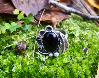 Black Onyx Of The Woods and Leaves Sterling Silver Ring