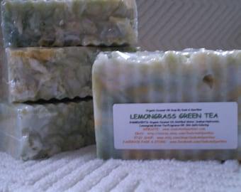 Lemongrass Green Tea Organic 100% Coconut Oil Soap Bar - 5-6oz. Each