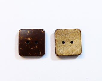Set of 20 square buttons coconut 16 x 16 mm - new