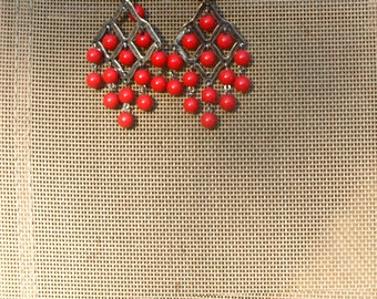 RED, plastic and metal, vintage flamenco earrings, long, dangling flamenca, Spanish, feria, Spain, Andalucía, Straight from Seville