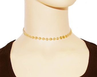 Tattoo Choker - Disc Choker - Dainty Gold Chain Choker - Gold Choker Necklace - Minimalist Gold Choker