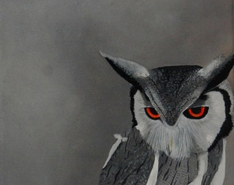 Owl Painting - Bird Original Oil Painting White Faced Scopse Owl Wall Art Small Painting on Canvas