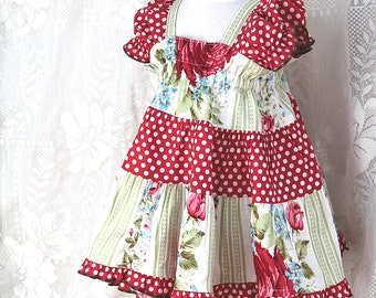 Cottage Chic Red Rose & Polka Dot 100% Cotton Ruffled Baby Dress Baby Girl Outfit Newborn Dress Handmade Boutique Baby Girl Clothes 3 6 9 mo