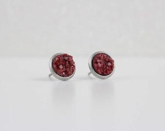 Marsala Maroon Druzy Crystal Earrings | ATL-E-217