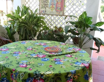 Round tablecloth 6 people green shalimar, lined cotton plain green cotton