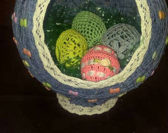 Medium Crochet Thread Easter Basket with Ribbon Buttons. Eggs sold separately.