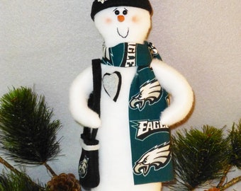 """Philadelphia Eagles NFL Football Snowman – Mom size (14"""") with Scarf, Purse, Stocking Hat"""