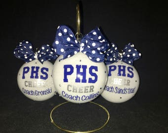 Personalized Christmas ornament for cheerleaders, cheer team, team gifts, dancers, drill team, football, big sis/lil sis, coaches.