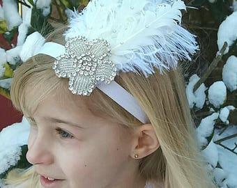 Bridesmaid,Rhinestone,Flower girl,Feather Headband,Flapper,Gatsby,Vintage,Christening, Child,Adult,Ostrich,Art Deco,Uk
