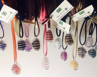 Spiral Cage Stone Necklaces