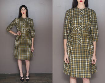 50s Vintage Plaid Dress Wool Pleated Button Up Dress Pocket Secretary Dress - 26 inch Waist