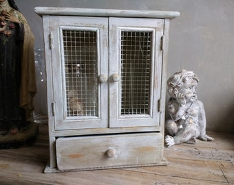 Vintage Wood Wall Shelf with Drawer - Shabby Chic Small Wall Cabinet - Curio Shelf -