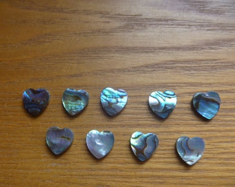 abalone hearts, 9 small abalone hearts, jewellery supplies