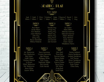 1930's Great Gatsby Style Table Plan / Art Deco Table Plan / 1930's Table Plan