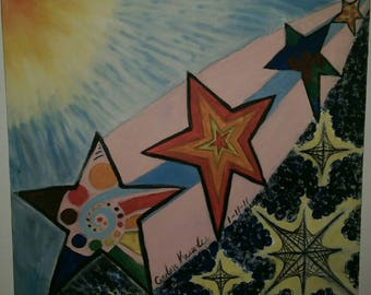 """15""""x17"""" Original painting of a shooting star not a print signed and dated"""