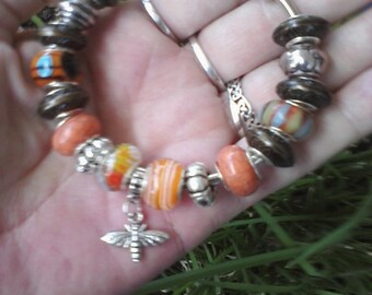 Little Sister Bee and fall colors, Euro style bracelet
