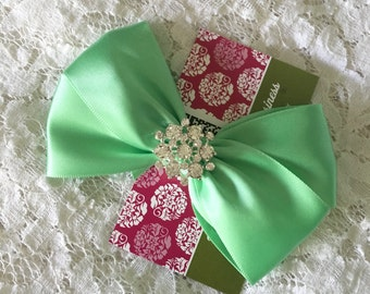 Mint Green Satin Hair Bow with Rhinestone Center, Mint Green Flower Girl Hair Bow, Holiday Hair Bow, Christmas Bow, Pageant Bow