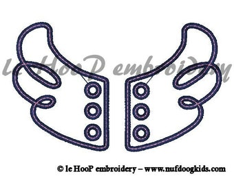 4x4 5x7 SWIRLY Angle/Fairy Shoe Wings Machine Embroidery In-The-Hoop Design Goth Costume Hero Steampunk Fantasy
