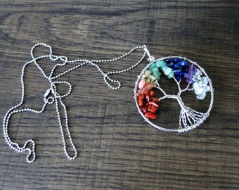 Rainbow Tree of Life Necklace Wire Tree Pendant Necklace Rainbow Gemstone Tree Family Tree Necklace Chakra Necklace Reiki Silver Necklace