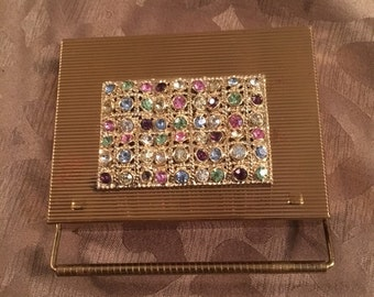 Volupte Vintage Clutch Compact with rhinestones and carrying case. Final Reduction! Perfect for a collector!