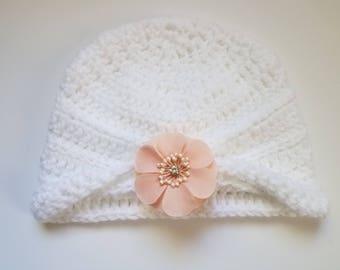 White Crochet Baby Hat