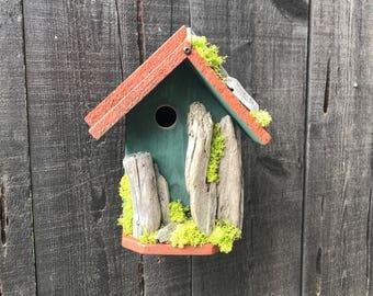 Rustic Birdhouse, Farmhouse Country Style, Functional Bird Houses Handmade, Hand Painted Moss Green & Cinnamon, Item #559607875