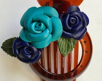 Rose trio Flora leather flower comb clip & bun holder in BLUE COMBINATION
