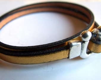 Leather Bracelet 5mm gold plated stunning silver plated Horseshoe clasp