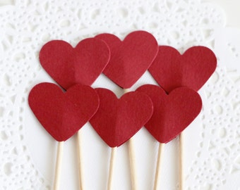 Dark Red Cupcake Toppers, Burgundy Wedding Cupcake Toppers, Party Picks, Heart Toothpicks, Party Food Picks, Paper Hearts