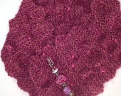 Raspberry knitted scarf and lampwork pin